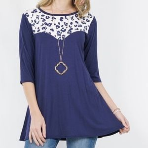 Ivory & Navy Contrast Abstract Print Tunic
